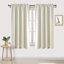 DWCN Blackout Curtains Room Darkening Thermal Insulated Bedroom Curtains Window Curtain Panels, 52 x 63 inches Long, Set of 2 Light Beige Rod Pocket Drapes