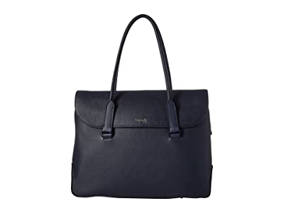 Lipault Paris Plume Elegance Leather Laptop Tote Bag (Navy) Tote Handbags
