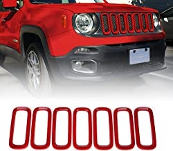 Xprite Red 7pcs ABS Front Grill Grille Inserts for 2015-2017 Jeep Renegade