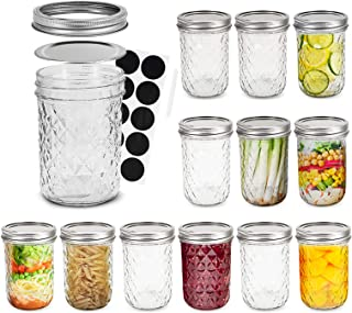 FRUITEAM 8 oz Mason Jars with Lids and Bands-Set of 12, Quilted Crystal Jars Ideal for Jams, Jellies, Conserves, Preserves...
