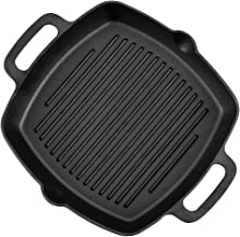 Pre-Seasoned Cast Iron Skillet Fry Pan Square Griddle with Ribs Nonstick Griddle Grill Cookware Black with Silicone Handle (Square Griddle - 2 Handles)