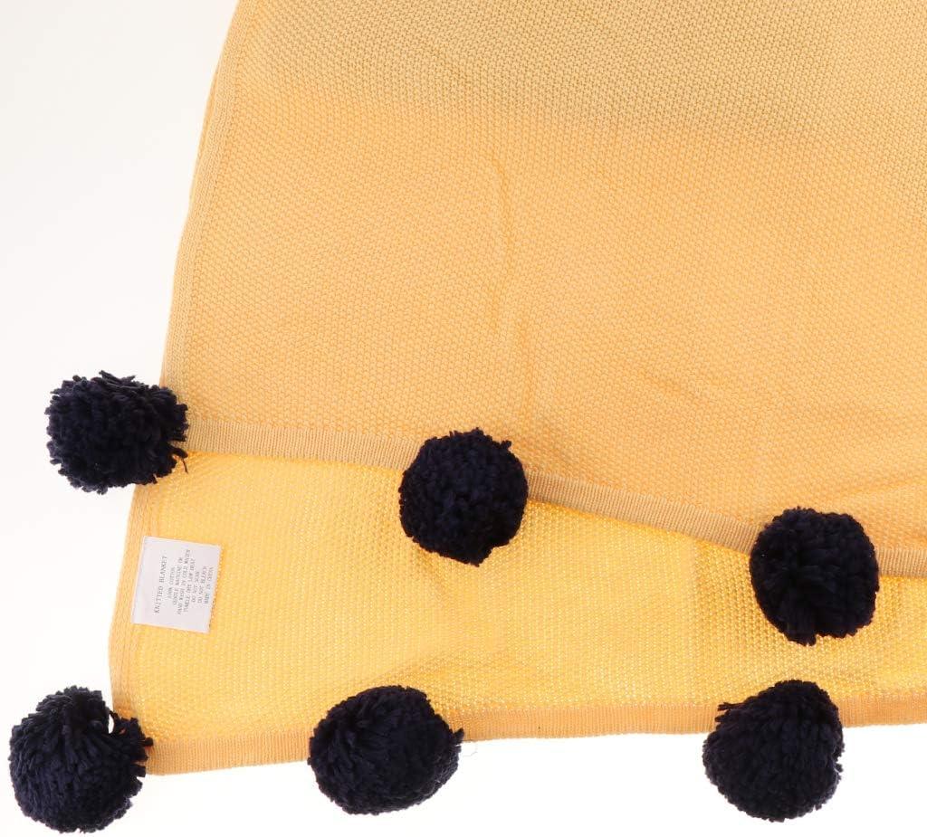 F Fityle Les Couvertures Molles Tricotées par Couverture d'enfants Badinent sur La Climatisation De Voyage De Sofa/Lit/Avion - Orange Jaune