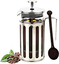 French Press Coffee Maker Portable Stainless Steel Plunger Coffee Maker for Espresso Tea with Spoon 600ml