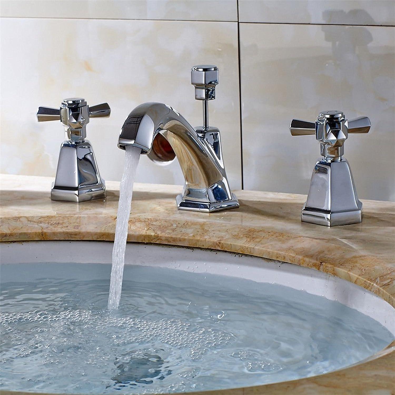 MNLMJ SpülbeckenhahnModerne einfache kupferne warme und kalte Spülbecken Wasserhhne Küchenarmatur Vollverkupferung Chrom Doppelgriff mit Wasserfilter Bad Becken unter Vier Waschbecken Wasserhahn