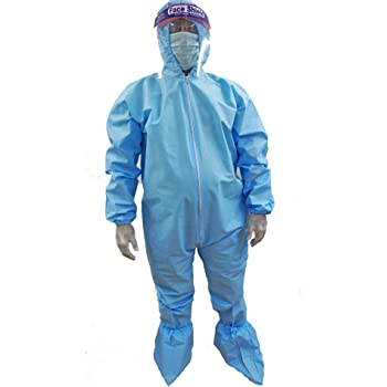 Adrian Disposable Coverall with Hood (with 90 GSM Polypropylene Spunbond - Non Woven Pack of 1 (Blue)