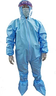 D-Passion Adrian Disposable Coverall with Hood (with 90 GSM Polypropylene Spunbond - Non Woven Pack of 1 (Blue)