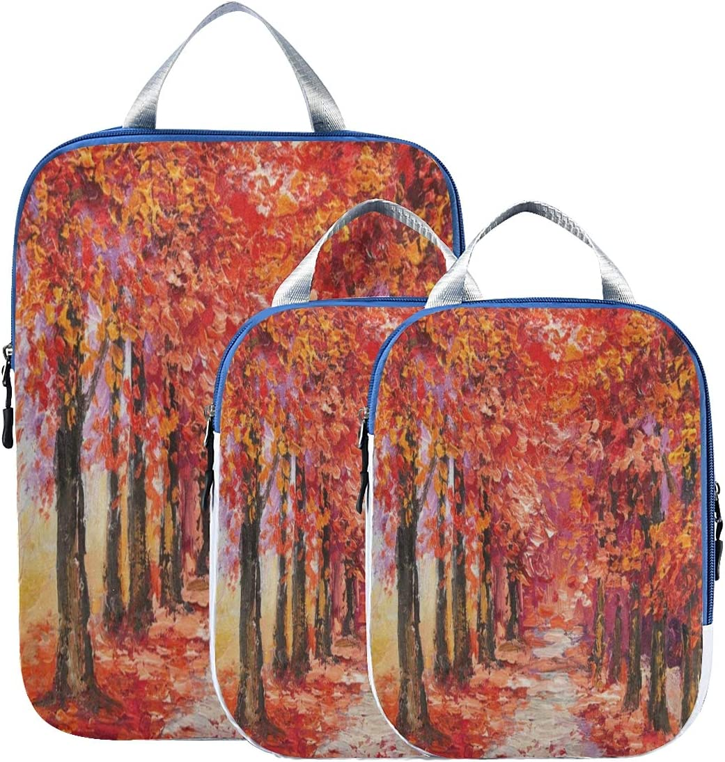 Suitcase Organizer Bags Set Oil Tree Lu Autumn Colorful Factory outlet Painting National uniform free shipping