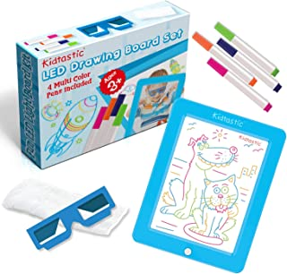 Kidtastic LED Drawing Board – Glow in The Dark, No Mess, Learning Tablet for Ages 3 and Up – with 6 Children Art Designs