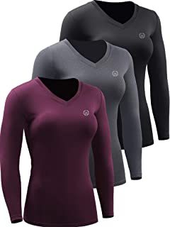 Neleus Women's 3 Pack Compression Shirts Long Sleeve Yoga Athletic Running T Shirt