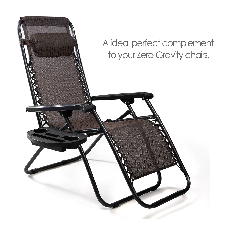 Zero Gravity Sun Lounger Chair Tray Side Clip Table Garden Recliner Holder Cup