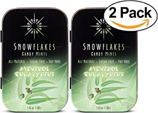 Menthol Eucalyptus Xylitol Candy Chips (2-Pack) - Snowflakes (2) 50g Tins - Handcrafted with ONLY 2 Ingredients | Diabetic...