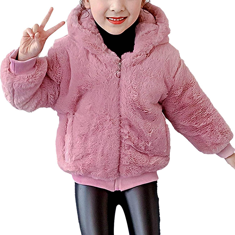 winying Little Girls Autumn Winter Fleece Zip Up Coat Faux Fur Jacket with Hood Outwear Warm Overcoat