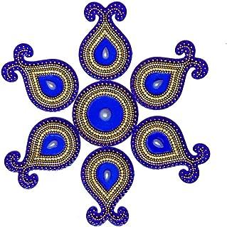 HANDICRAFT STOREROOM Handcrafted Decorative Diwali Rangoli Set Multicolor Jewel Stones/kundan Decorations (Set of 9 Pieces)