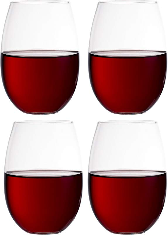European Stemless White Wine Cups 4 Piece Set Classic Craftsmanship Elegant Hosting Glassware Modern Heavy Duty Borosilicate Glass Crystal Dishwasher Safe 11 8oz Each