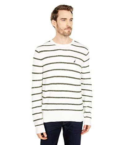 Nautica Sustainably Crafted Stripe Crew Neck Sweater (Marshmallow) Men