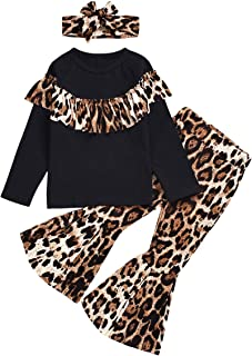 Toddler Kids Girl Winter Outfit Leopard Ruffle T-Shirt Tops + Flare Bell-Bottom Pants with Headband Fall Outfit Clothes Set (Leopard, 3-4 Years)