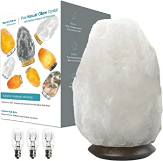 Rare Pearl White Himalayan Salt Lamp Night Light Crystal Hand Carved Hymalain Rock Table Lamps,Thailand Roseplatinum Base, Dimmable Switch Control (3 Bulbs Included)