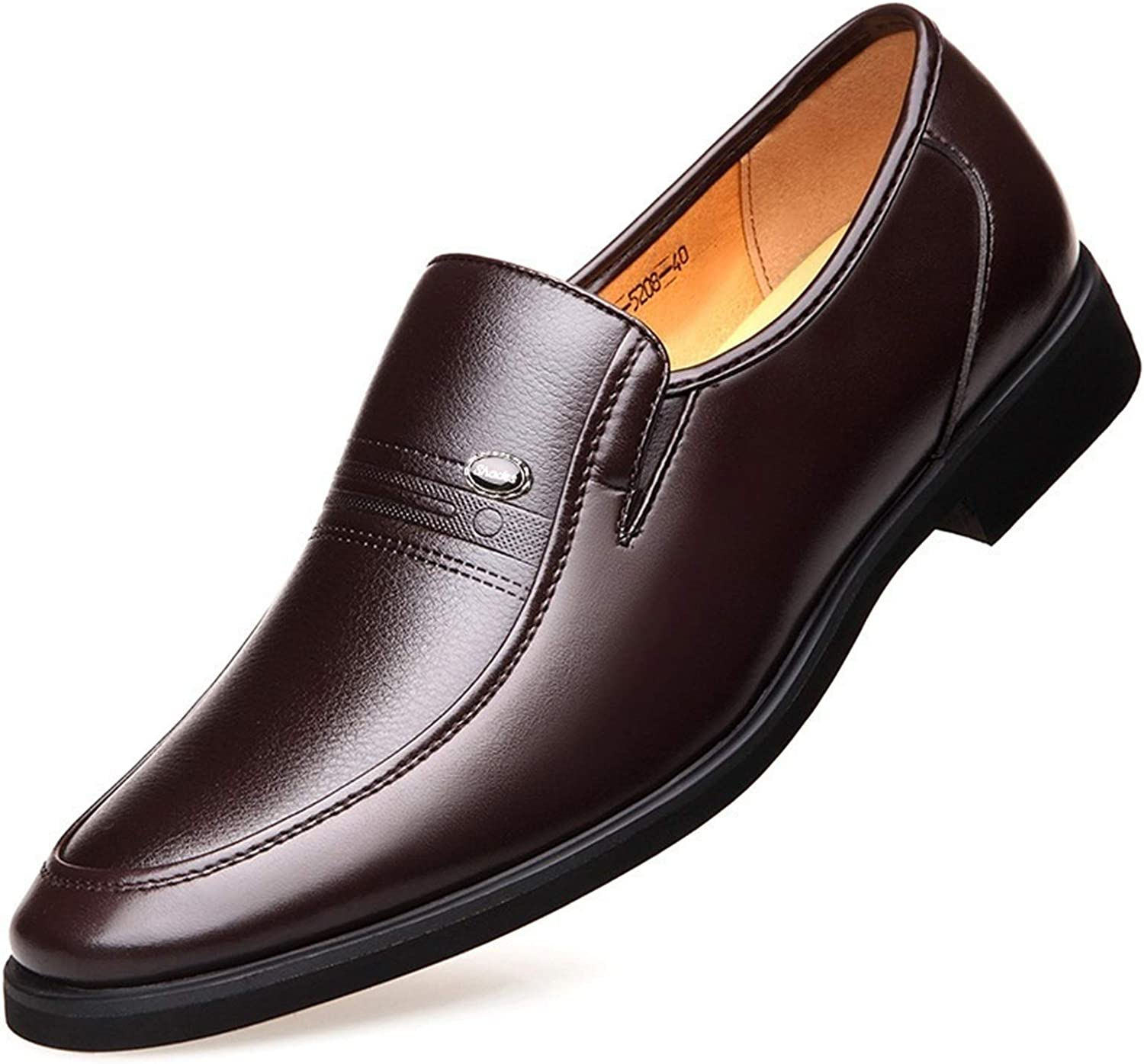 Men's Oxford Cloth Leather Shoes, Classic Business Solid Color Fashion, Round Toe Elastic Band Elastic Heel Men's Casual Shoes (Color : Brown, Size : 44 EU)