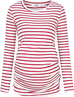 Coolmee Maternity Shirt Side Button and Ruched Maternity Tunic Tops Maternity Long Sleeve T-Shirt T-Shirts (L,Red/White-Long)