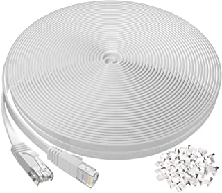 Cable Ethernet de 100 pies, plano largo Cat6 cable de Internet para router, módem, juegos, cable de red de alta velocidad con clips RJ45 sin enganches cable de computadora rápido LAN para PS4, Xbox, interruptor, WiFi, acoplador, color blanco