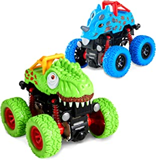 LODBY Dinosaur Trucks Toys for 2-6 Year Old Boys Gifts, Pull Back Vehicles for Kids Outdoor Playset Trucks for Age 2-6 Yea...