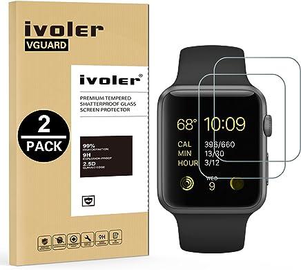 iVoler [2 Pack] Pellicola Vetro Temperato per Apple Watch 42mm Series 3 / Series 2 / Series 1 [Garanzia a Vita], Pellicola Protettiva Protezione per Schermo per Apple Watch 42mm Series 3/2 / 2