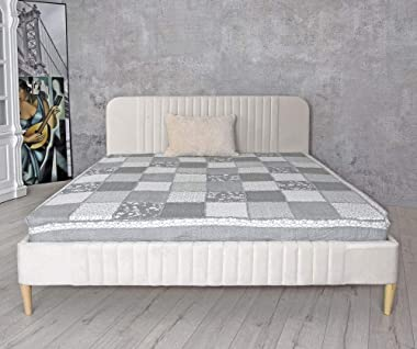 Palazzo Fha079 Lit double en velours Blanc 180 x 200 cm