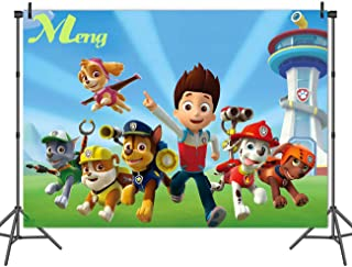 Cartoon Paw Patrol Theme Photography Backdrops Baby Shower Kids Happy Birthday Party Decotation Photo Green Grass Background Studio Props Banner Vinyl 7x5ft