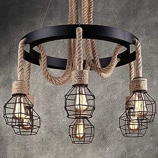 Pumpink Vintage Pendelleuchte Hanfseil Hängeleuchte Industriellen Stil Runde Retro Seil Design Lampe Deckenbeleuchtung Edison E27  6 Kronleuchter Hängeleuchte für Bar Küche Restaurant Esszimmer