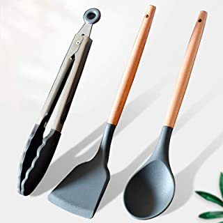 Kitchen Utensils Set,3 Piece Silicone Cooking Utensils Set Kitchen Wooden Cooking Utensils Set Serving Spoons,Includes Cli...