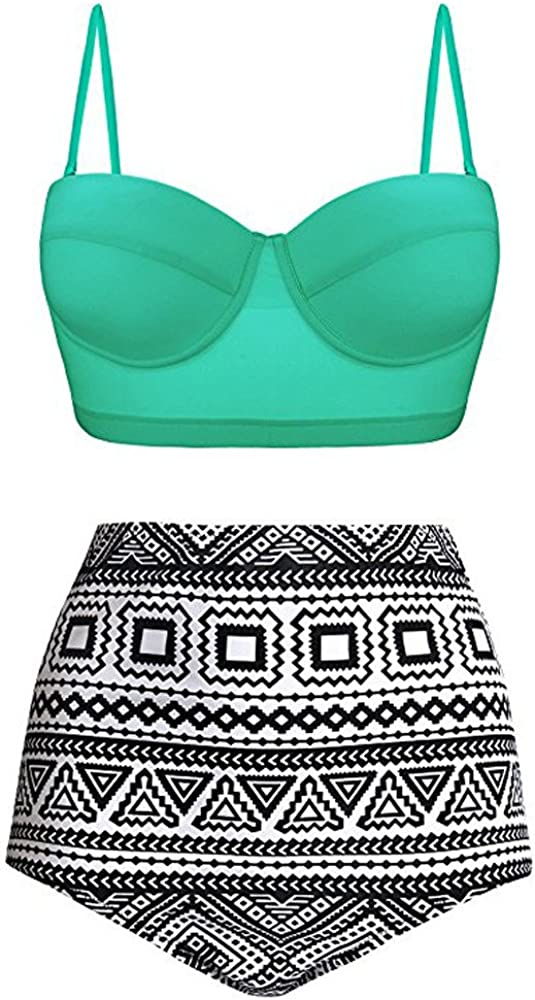 XUEJIN Women High Waist Bikinis Swimwear Swimuit Female Retro Beachewear Bikini Tankini Set Bathing Suits Mint Green