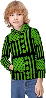 Kid's Novelty Sweater Ribbon Breast Cancer Awareness Flag Hoodie Teen's Long Sleeve Sportswear Fleece Hood Pullover-