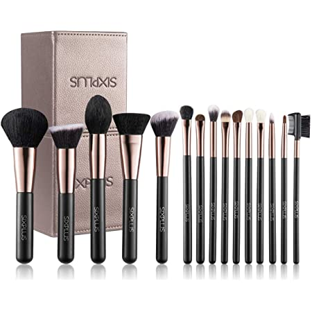 SIXPLUS 15Pcs Coffee Makeup Brush Set with Makeup Holder (Coffee)