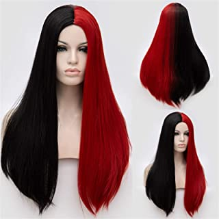 Hairpieces Long Two Tone Black and Blonde Wig Cosplay Straight Middle Line Synthetic Wigs for White Black Women Fake Hair ...