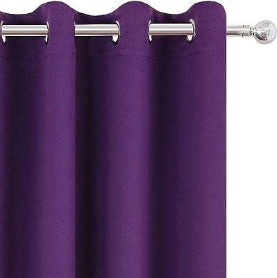 Livingcreation Set of 2 Heavy Plain Crush Polyester Curtain (Purple, 7 FEET)