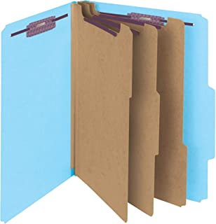 "Smead Pressboard Classification File Folder with SafeSHIELD Fasteners, 3 Dividers, 3"" Expansion, Letter Size Letter"