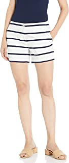 Nautica Womens 9302ZB Hint of Vocation Tailored Stretch Cotton Patterned Short Casual Shorts - White