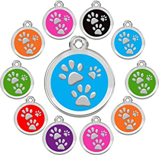 CNATTAGS Stainless Steel with Enamel Pet ID Tags Designers Round Paws