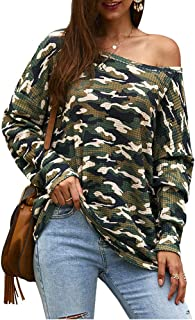 Smile Fish Women Camouflage Casual Oversized Off Shoulder Knit Sweaters Pullovers