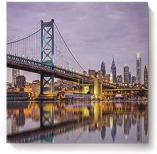 Libaoge Canvas Printing Wall Art - Philadelphia Bridge Pennsylvania City Paintings for Home Kitchen Decor Gallery Wraps Giclee Print & Wood Framed Ready to Hang - 28