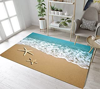 Ocean Seaside Sand Beach Scene Print Area Rug Mat by LB, Nautical Tropical Coastal Starfish Decor Rug for Living Room, Waterproof Healthy Rug