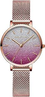 ساعة نسائية عصرية كوارتز تناظرية للسيدات ساعة يد كاجوال بسوار من الفولاذ المقاوم للصدأ 3 ATM مقاومة للماء (اللون: C)
