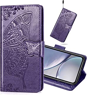 MEIKONST Huawei Honor 9X Lite Case, Elegant Embossed Purple Butterfly Soft PU Leather Flip Wallet Case with Stand Magnetic...