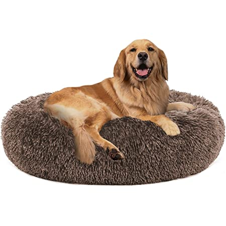"PUPPBUDD Calming Dog Bed Cat Bed Donut, Faux Fur Pet Bed Self-Warming Donut Cuddler, Comfortable Round Plush Dog Beds for Large Medium Dogs and Cats (24""/32""/36""/44"")"