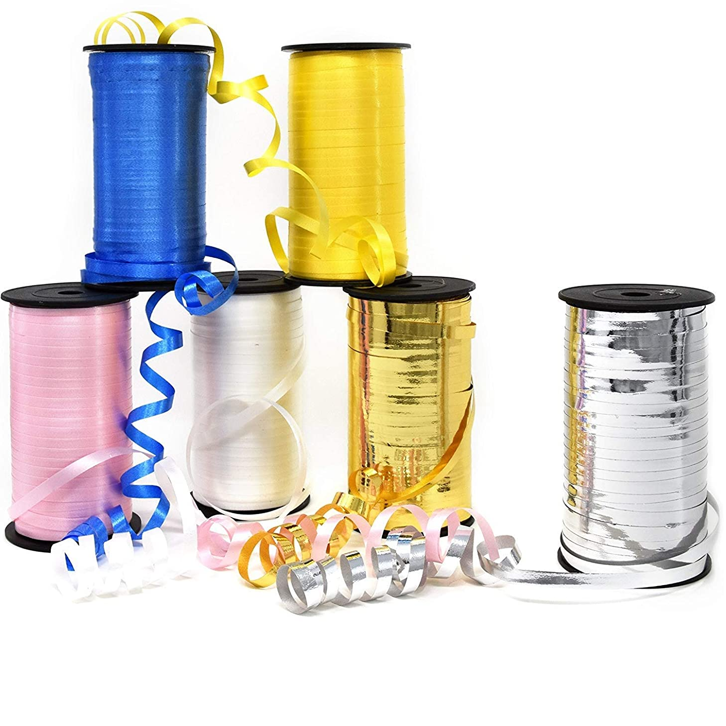 6 Curling Ribbon Rolls 600 Yards Assorted Colors Royal Blue Yellow Pink White Metallic Gold & Silver 3/16