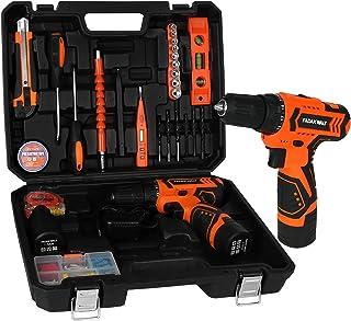 FADAKWALT Tool Kit Set with 12V Cordless Drill, 36Pcs Power Tools Set with 2pcs Li-Ion Battery, Charger, 0-1350RMP Variabl...