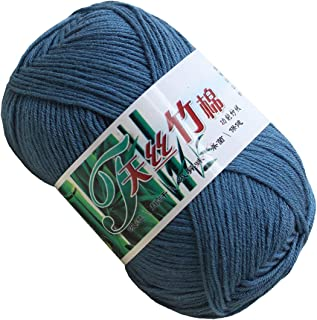 Set of 10 Skein Natural Select Soft Tencel Yarn 70% Bamboo + 30% Egyptian Cotton Crochet 50g Baby Knit Wool Yarn (Cowboy Blue 9030)