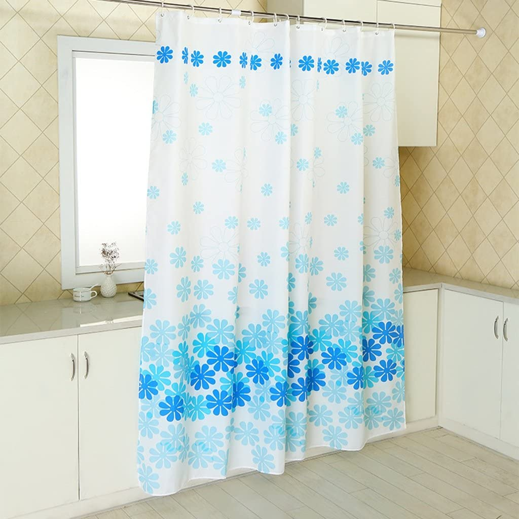 Amazon Com Bathroom Shower Curtain Toilet Waterproof Mildew Easy To Clean Thick Polyester Fabric Blue Petal Pattern Print Free Shower Curtain Plastic Hook Size 200x200cm Home Kitchen