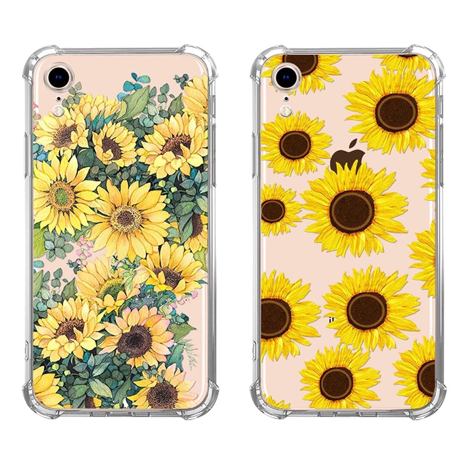 KZIOACSH Apple iPhone XR Case, Clear Floral Flower Pattern Slim Design Bumper Case Transparent Soft TPU Girls and Women Back Cover Case for iPhone XR (2 Pack)