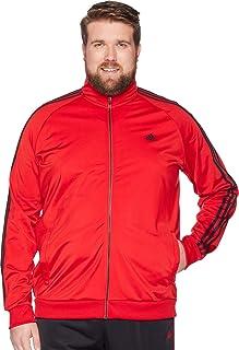 adidas Men's Big & Tall Essentials 3-Stripes Tricot Track Jacket Scarlet/Black Small